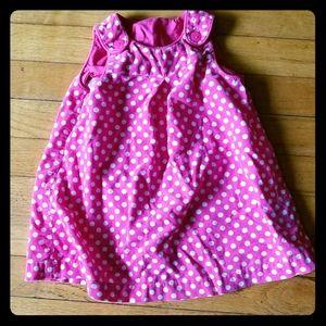 Pink polka dot corduroy dress